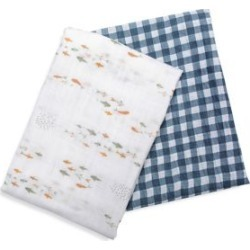 2-Pack Cotton Muslin Swaddle Blankets - Fish & Navy Gingham Print