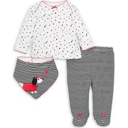 Baby Girl's 3-Piece Dalmatian Cotton Shirt, Footed Pants & Bib Set