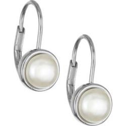Dormeuses en argent sterling avec perle blanche