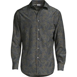 Brioni Men's Silk Paisley Print Sport Shirt - Midnight Blue - Size Large found on MODAPINS from Saks Fifth Avenue for USD $515.62