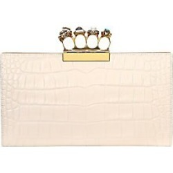 Alexander McQueen Women's Four-Ring Croc-Embossed Leather Clutch - Off White found on MODAPINS from Saks Fifth Avenue for USD $2095.00