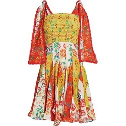 All Things Mochi Women's Natalia Tie Strap Flora Mini Dress - Red Yellow - Size XS found on MODAPINS from Saks Fifth Avenue for USD $164.00