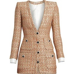 Alessandra Rich Women's Dressing For Pleasure V-Neck Sequin Tweed Mini Dress - Coral Gold - Size 44 (10) found on MODAPINS from Saks Fifth Avenue for USD $2303.50