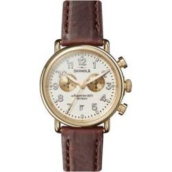 Montre chronographe en acier inoxydable Runwell avec bracelet en cuir