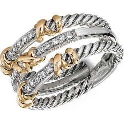 David Yurman Women's Helena 3-Station Ring With 18K Yellow Gold & Diamonds - Silver - Size 8 found on Bargain Bro from Saks Fifth Avenue for USD $950.00