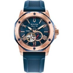 Marine Star Rose Goldtone Stainless Steel & Silicone-Strap Automatic Watch
