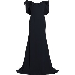 Oscar de la Renta Women's Bow-Trimmed Draped Cady Gown - Navy - Size 12 found on Bargain Bro India from Saks Fifth Avenue for $6290.00