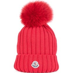 Moncler Women's Fur Pom-Pom Logo Knit Beanie - Red found on MODAPINS from Saks Fifth Avenue for USD $355.00
