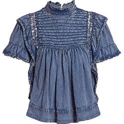 Free People Women's Le Femme Chambray Top - Navy - Size Large