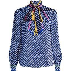 Tory Burch Women's Printed Silk Pussycat Blouse - Blue Bias Stripe - Size 12