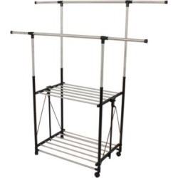 Stainless Steel Collapsible Double-Bar Garment Rack