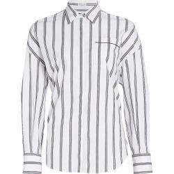 Brunello Cucinelli Women's Monili Trim Striped Button-Down Shirt - White - Size XL found on MODAPINS from Saks Fifth Avenue for USD $403.50