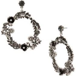 Pendants d'oreilles en anneaux argentés avec similiperles et cristaux Ornate Flower Gypsy