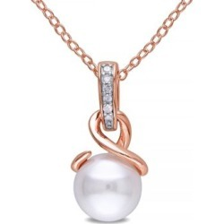 Collier à pendentif en argent sterling plaqué or rose avec diamants 0,03 ct PT et perle d'eau douce