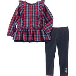 Ensemble tunique à carreaux et legging en mélange de coton pour bébé fille, 2 pièces