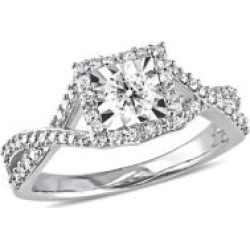 Sterling Silver & Diamond Engagement Ring