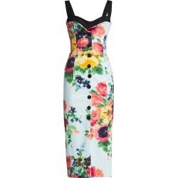 Carolina Herrera Women's Sleeveless Floral Button Cocktail Dress - Blue Floral - Size 8 found on MODAPINS from Saks Fifth Avenue for USD $1890.00