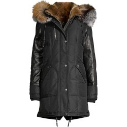 Nicole Benisti Women's Chelsea Intarsia Fur Lined Puffer Jacket - Black Tricolor - Size Small found on MODAPINS from Saks Fifth Avenue for USD $1900.00