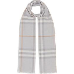 Burberry Women's Giant Check Gauze Scarf - Light Grey