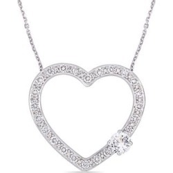 Silver Gemstone Sterling Silver and White Sapphire Heart Necklace