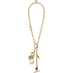 Scorpion Goldplated, Freshwater Pearl & Multi-Charm Lariat Necklace found on Bargain Bro from Saks Fifth Avenue UK for £270