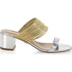 Aquazzura Women's Rendez Vous Metallic Leather Mules - Silver Gold - Size 39.5 (9.5) found on MODAPINS from Saks Fifth Avenue for USD $725.00