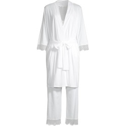 Skin Women's Three-Piece Bridal Pajamas & Robe Gift Set - White - Size Large