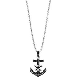 Sterling Silver & Black Spinel Skull Anchor Pendant Necklace found on Bargain Bro India from Saks Fifth Avenue OFF 5TH for $278.00
