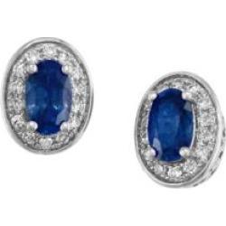Dormeuses en or blanc 14 K serties de diamants de 0,11 ct PT et de saphirs