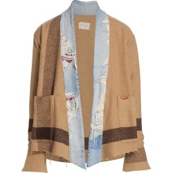 Greg Lauren Men's Striped Wool-Blend Distressed Cardigan - Tan - Size Large found on MODAPINS from Saks Fifth Avenue for USD $1200.00