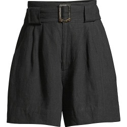 Solid and Striped Women's Linen-Blend Paperbag Waist Shorts - Black Line - Size XL found on Bargain Bro India from Saks Fifth Avenue for $79.20