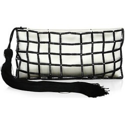 Carolina Santo Domingo Women's Stella Beaded Silk Clutch - White Black found on MODAPINS from Saks Fifth Avenue for USD $325.00
