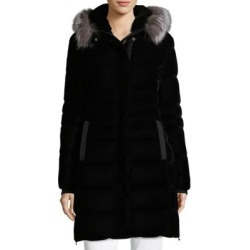 Fur Trim Quilted Velvet Coat title=