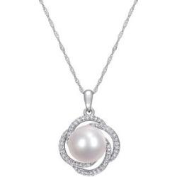 Collier à pendentif en or blanc 14 ct avec perle d'eau douce 10-10,5 mm et diamants de 0,25 ct PT