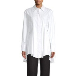 High-Low Flare Button Front Shirt