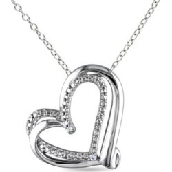 Collier à pendentif en coeur en argent sterling avec diamants de 0,01 ct