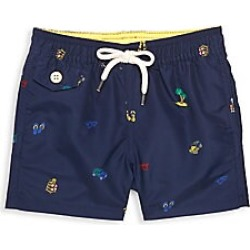 Ralph Lauren Baby Boy's Traveler Printed Swim Trunks - Navy - Size 18 Months