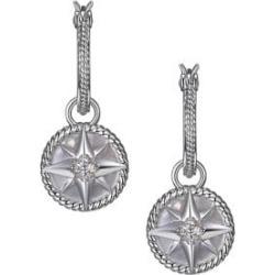 Pendants d'oreilles à motif d'étoile Stella en argent sterling rhodié avec nacre et zircons cubiques