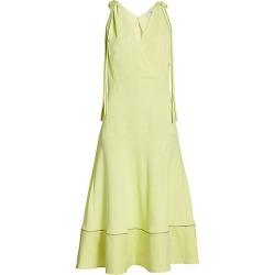Proenza Schouler White Label Women's Tie-Shoulder Plunging Midi Dress - Celery - Size 10