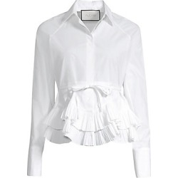 Alexis Women's Winton Tiered Pleated Peplum Button-Down Blouse - White - Size Small found on MODAPINS from Saks Fifth Avenue for USD $172.50