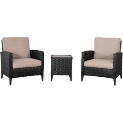 Ensemble table d'appoint et fauteuils de jardin en rotin à tressage large Parkview, 3 pièces