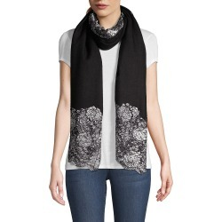 Janavi Women's Metallic Floral Center Panel Cashmere Scarf - Black found on MODAPINS from Saks Fifth Avenue for USD $300.00
