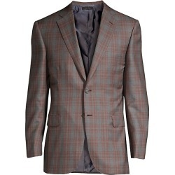 Brioni Men's Windowpane Check Jacket - Brown Grey - Size 56 (46) R found on MODAPINS from Saks Fifth Avenue for USD $1856.25