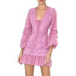 Alexis Women's Malicha Mixed Lace Long-Sleeve Mini Dress - Lilac Macrame - Size Medium found on MODAPINS from Saks Fifth Avenue for USD $645.00