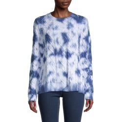 Nicole Miller Women's Tie-Dyed Cotton Cable-Knit Sweater - Blue Tie Dye - Size M found on MODAPINS from Saks Fifth Avenue OFF 5TH for USD $79.99