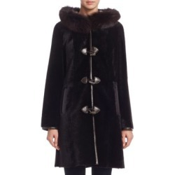 Hood Reversible Shearling Coat title=