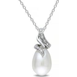 Collier torsadé en argent sterling avec diamants 0,04 ct PT et perle d'eau douce