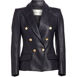 Alexandre Vauthier Women's Double-Breasted Leather Blazer - Navy - Size 44 (12) found on MODAPINS from Saks Fifth Avenue for USD $3765.00