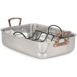 Metal Expressions Stainless Steel Roaster with Non-Stick V-rack