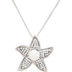 Collier en argent sterling avec cristaux et perles d'eau douce rondes et blanches de 6 mm